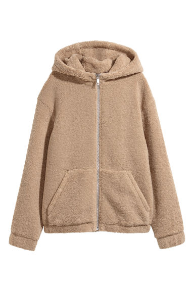 Pile hooded jacket - Beige -  | H&M CN