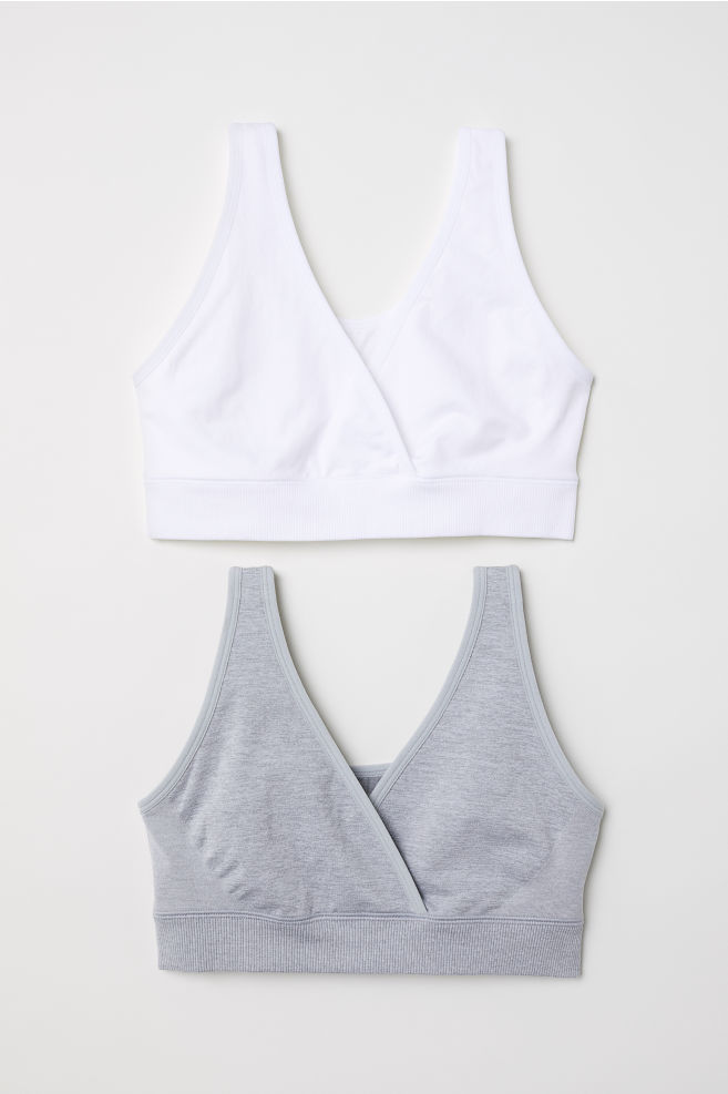 b0fbd8794aabf MAMA 2-pack sleep nursing bras - Light grey marl/White - Ladies | H&M GB