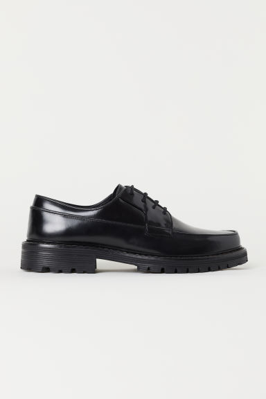 Leather Derby shoes - Black -  | H&M CN