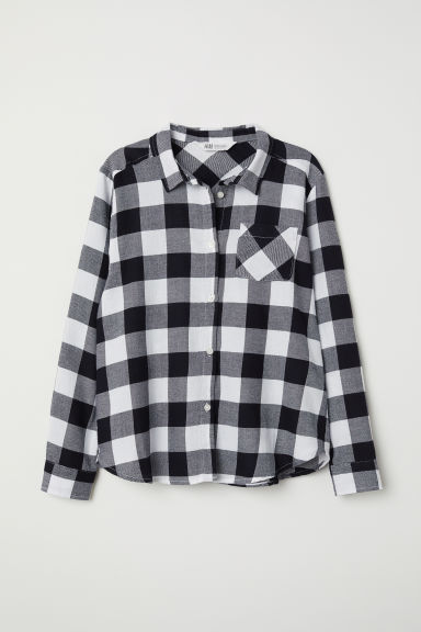 Generous Fit Flannel shirt - Black/Checked - Kids | H&M CN