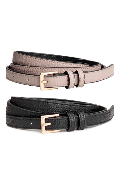 2-pack narrow belts - Black/Mole - Ladies | H&M