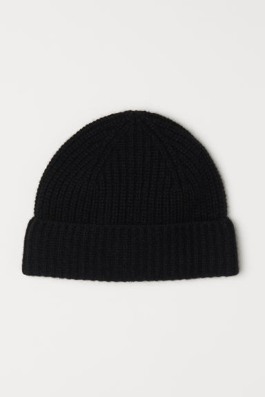 Ribbed cashmere hat - Black - Men | H&M CN