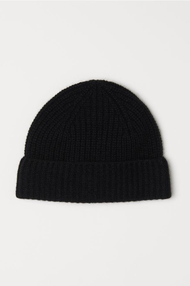 Ribbed Cashmere Hat - Black - Men  ba0862975db
