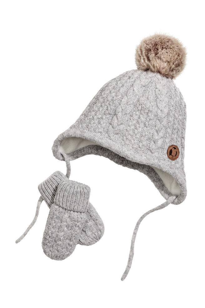56e04cf4bc6 Bonnet et moufles - Gris clair - ENFANT