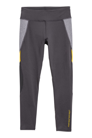 Ankle-length sports tights - Dark grey/Yellow - Ladies | H&M IE