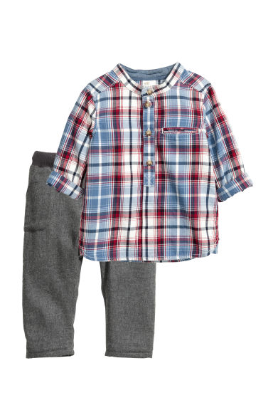Shirt and trousers - Blue/Red checked -  | H&M