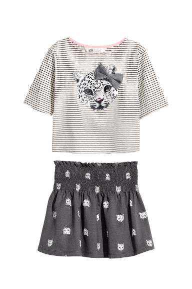 Skirt and top - Natural white/Leopards - Kids | H&M