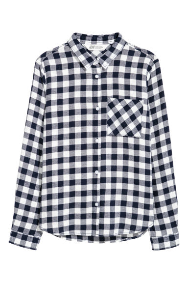 Cotton flannel shirt - Dark blue/White checked - Kids | H&M CN
