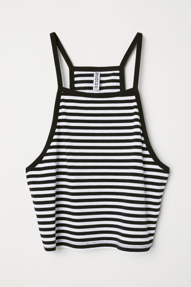 Short strappy top - Black/White striped - Ladies | H&M