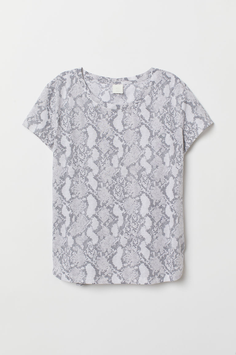 Cotton T-shirt - White/Snakeskin-patterned - Ladies | H&M CN