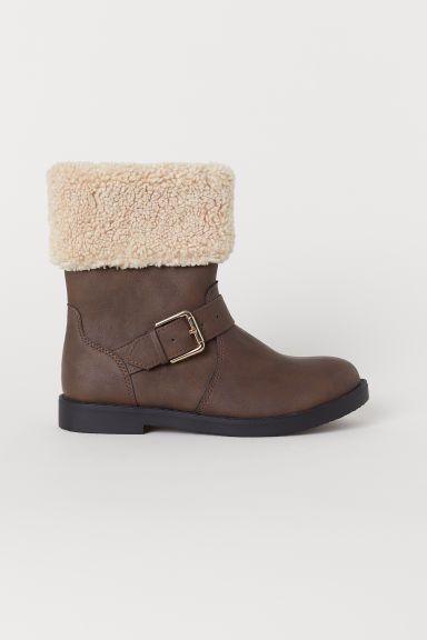 Pile-lined boots - Dark brown -  | H&M