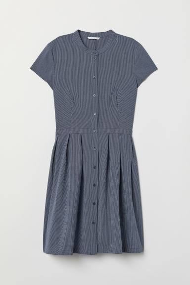 Dress with buttons - Dark blue/Striped - Ladies | H&M