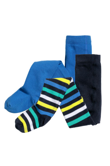 2-pack fine-knit tights - Blue/Striped - Kids | H&M CN