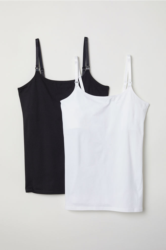 38485fcd4087c MAMA 2-pack Nursing Tank Tops - White/black - Ladies | H&M US