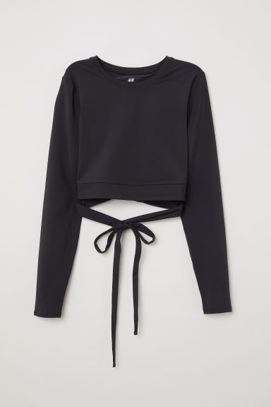 Short yoga top - Black - Ladies | H&M CN