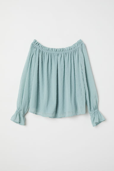 Off-the-shoulder blouse - Dusky green -  | H&M CN