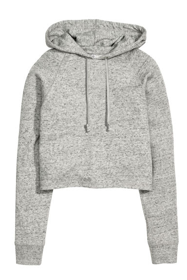 Cropped hooded top - Grey marl -  | H&M