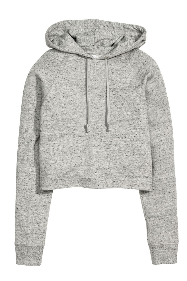 87db01378bddc Sweat à capuche court - Gris chiné - | H&M ...