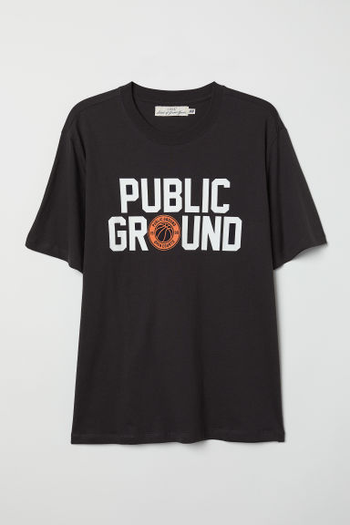 印花T恤 - 黑色/Public Ground - Men | H&M CN
