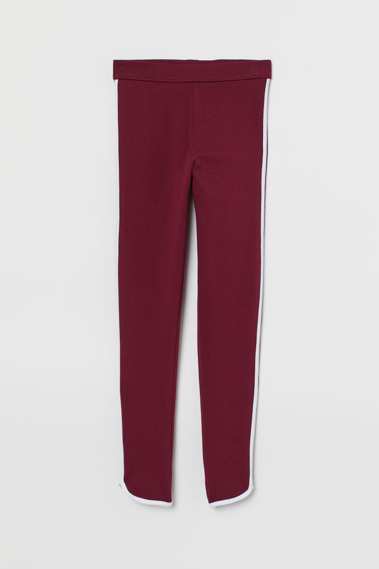 Leggings with side stripes - Dark red - Kids | H&M IE