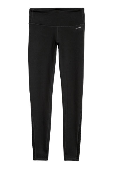 Yoga tights Shaping waist - Black/Ribbed mesh -  | H&M