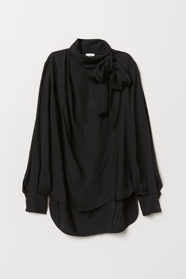 Blouse with ties - Black - Ladies | H&M CN