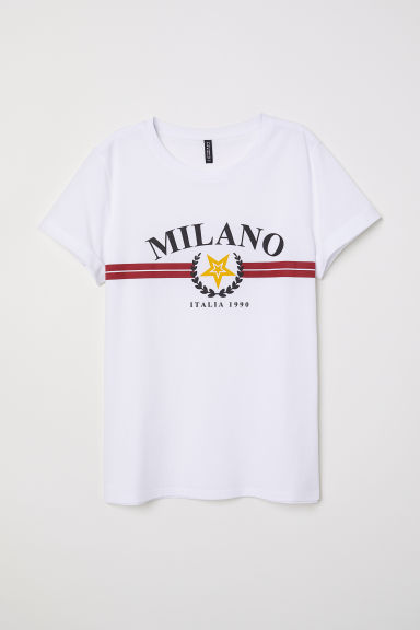 T-shirt with a motif - White/Milano - Ladies | H&M CN