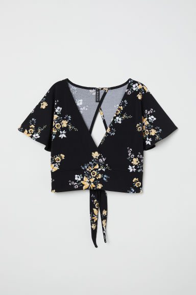 V-neck top - Black/Floral - Ladies | H&M CN