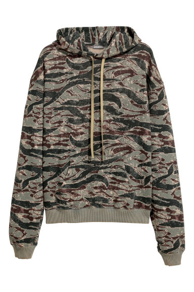 Patterned hooded top - Khaki green/Patterned -  | H&M
