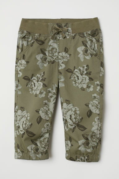 3/4-length pull-on trousers - Khaki green/Floral - Kids | H&M