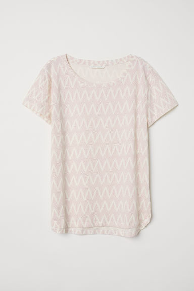 Cotton T-shirt - Natural white/Patterned - Ladies | H&M CN