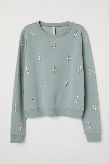 Sweatshirt with sparkly stones - Dusky green -  | H&M CN