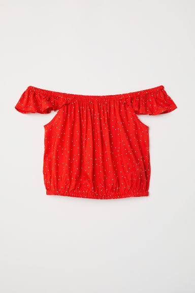Top a spalle scoperte - Rosso/pois -  | H&M IT