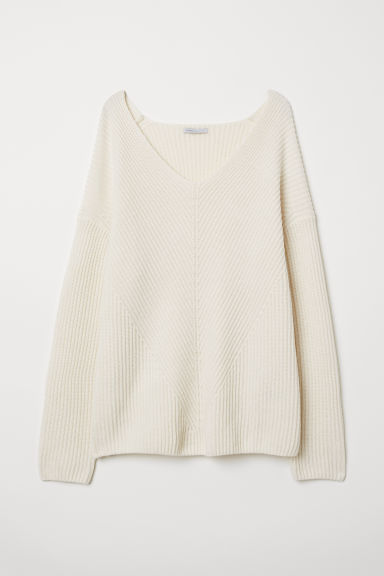 V-neck cashmere jumper - White - Ladies | H&M