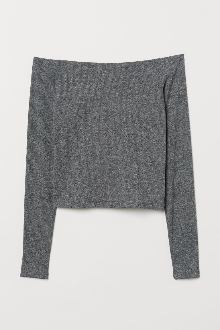 Off-the-shoulder top - Dark grey marl -  | H&M CN
