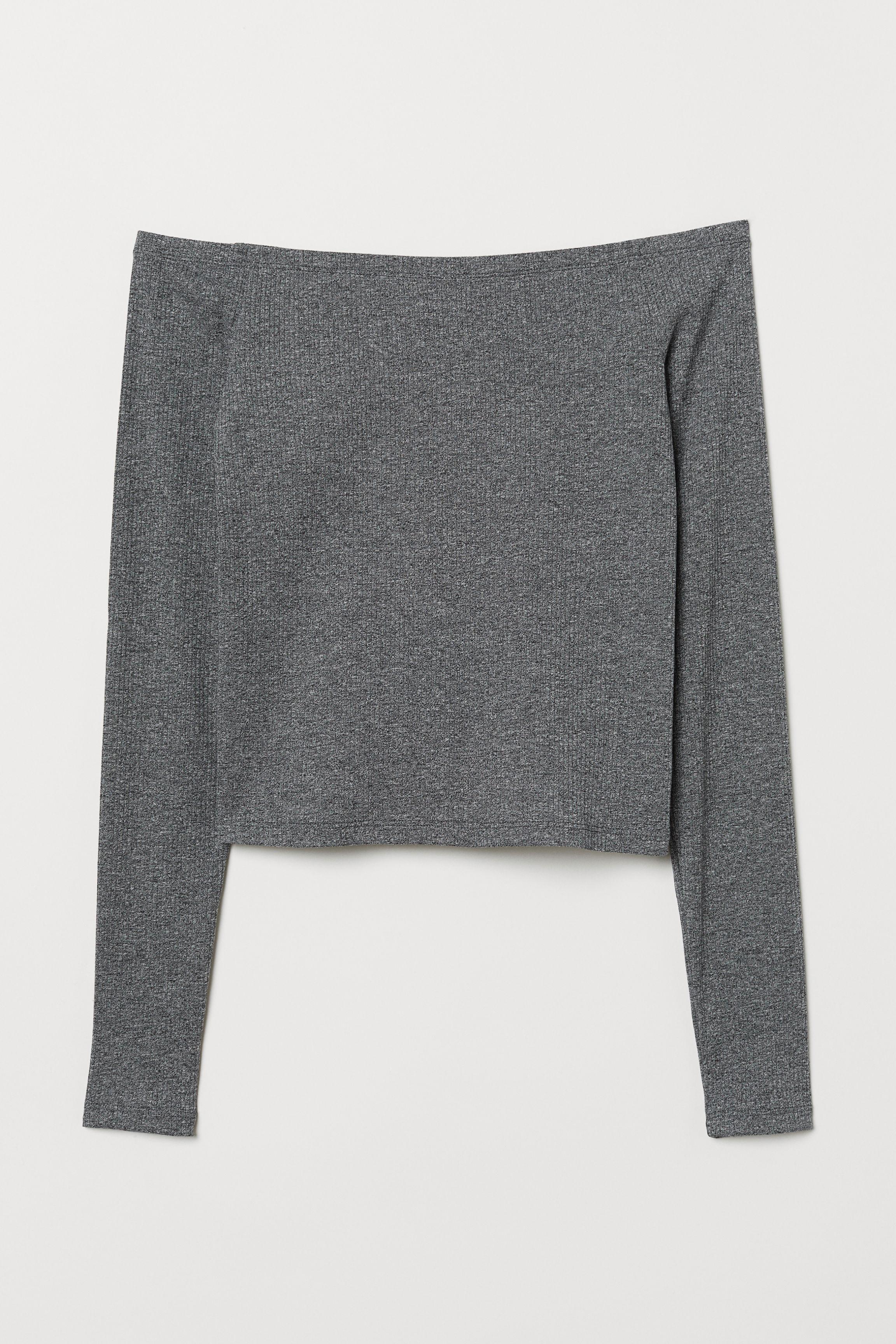 6cd189d0071 Off-the-shoulder Top - Dark gray melange -