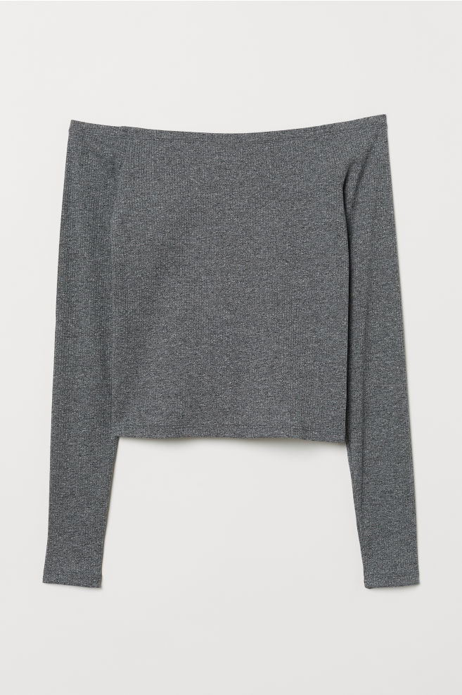 73d23f01044 Off-the-shoulder top - Dark grey marl - Ladies | H&M ...
