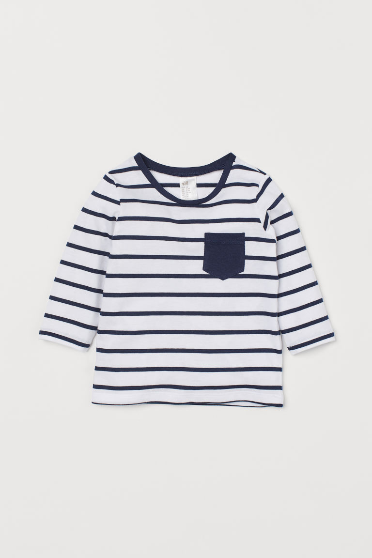 Langarmshirt - Weiß/Blau gestreift - Kids | H&M AT