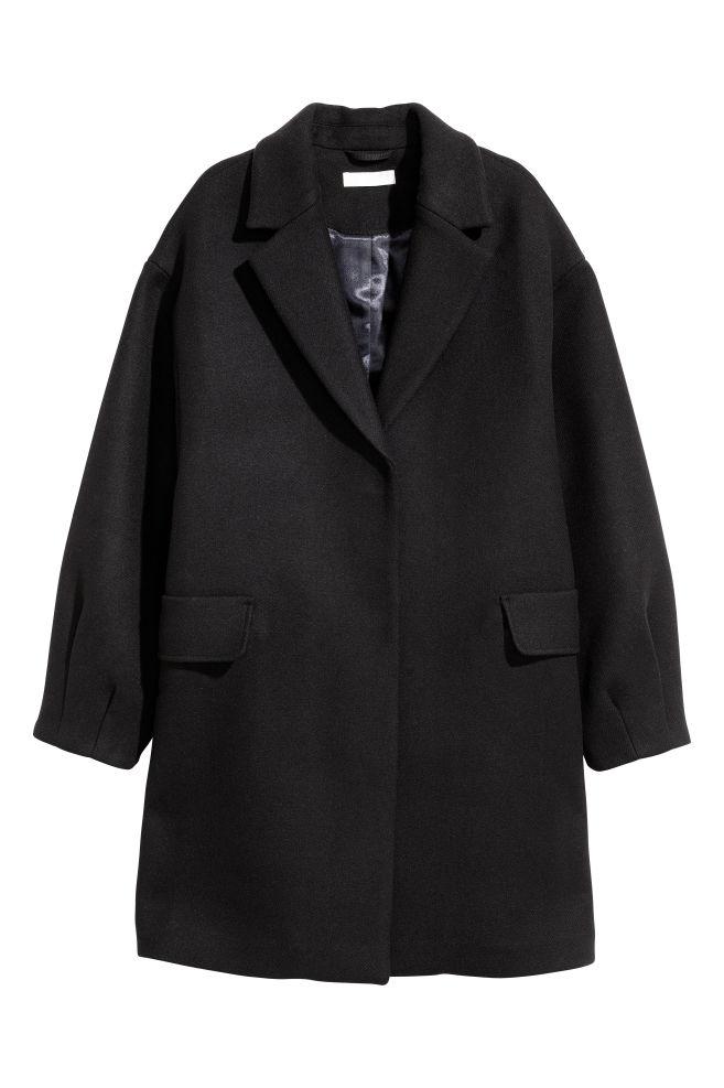 Cappotto corto in misto lana - Nero - DONNA  d5f61d1b9fe5