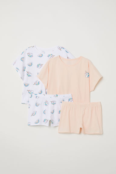 2-pack jersey pyjamas - Apricot/Unicorns - Kids | H&M