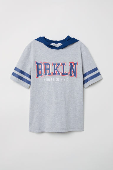 Short-sleeved hooded top - Grey marl/Brkln - Kids | H&M