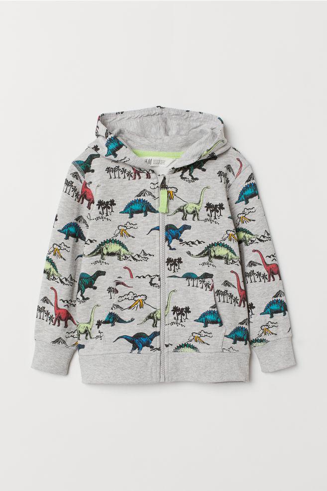3387627fa Patterned Hooded Jacket - Light gray melange/dinosaurs - Kids | H&M ...