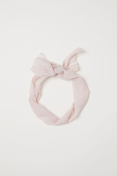 Embroidered hair scarf - Light pink - Ladies | H&M CN