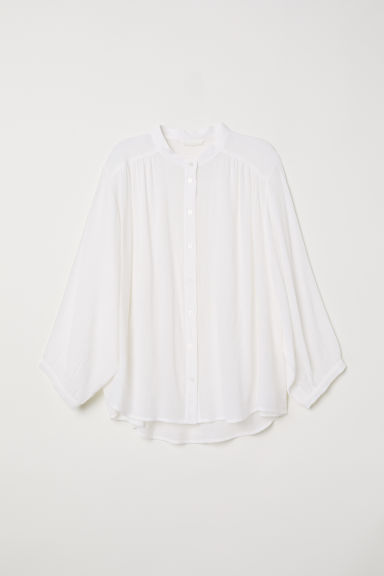 Crinkled blouse - White -  | H&M