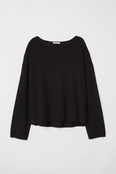 Fine-knit jumper - Black -  | H&M CN