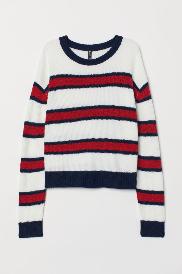 Knitted jumper - White/Striped - Ladies | H&M CN