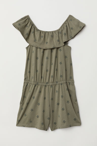 Off-the-shoulder playsuit - Khaki green/Stars - Kids | H&M