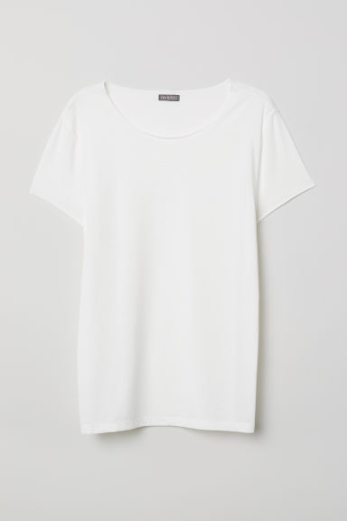 Cotton-blend T-shirt - White -  | H&M CN