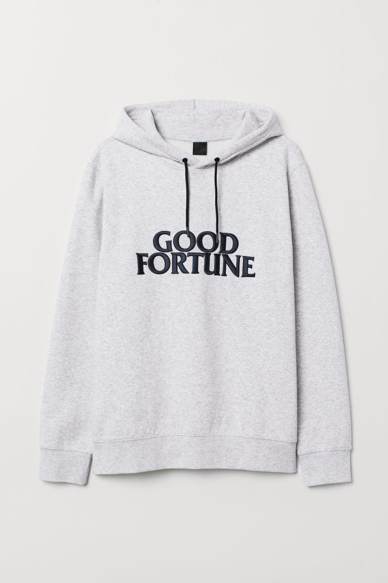 Sweat-shirt à capuche à motif - Gris chiné/Good Fortune - HOMME | H&M BE