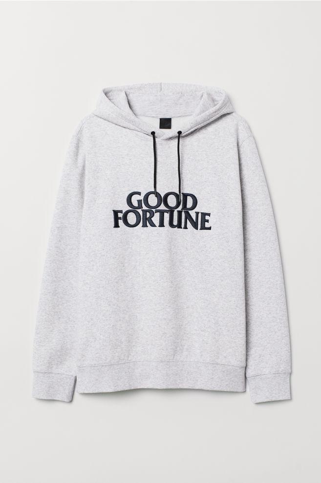b12a27bc5 Hooded Sweatshirt with Motif - Gray melange/Good Fortune -   H&M ...
